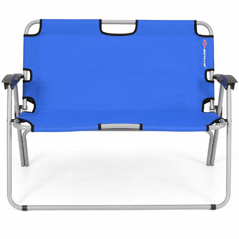 Marvelous 2 Person Folding Camping Bench Portable Double Chair Blue Bralicious Painted Fabric Chair Ideas Braliciousco