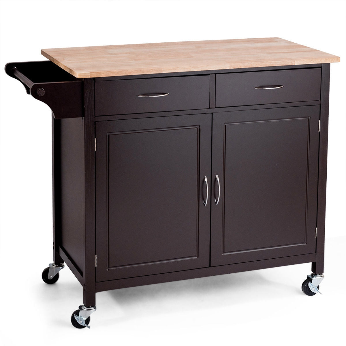 Modern Rolling Kitchen Cart Island with Wooden Top-Brown