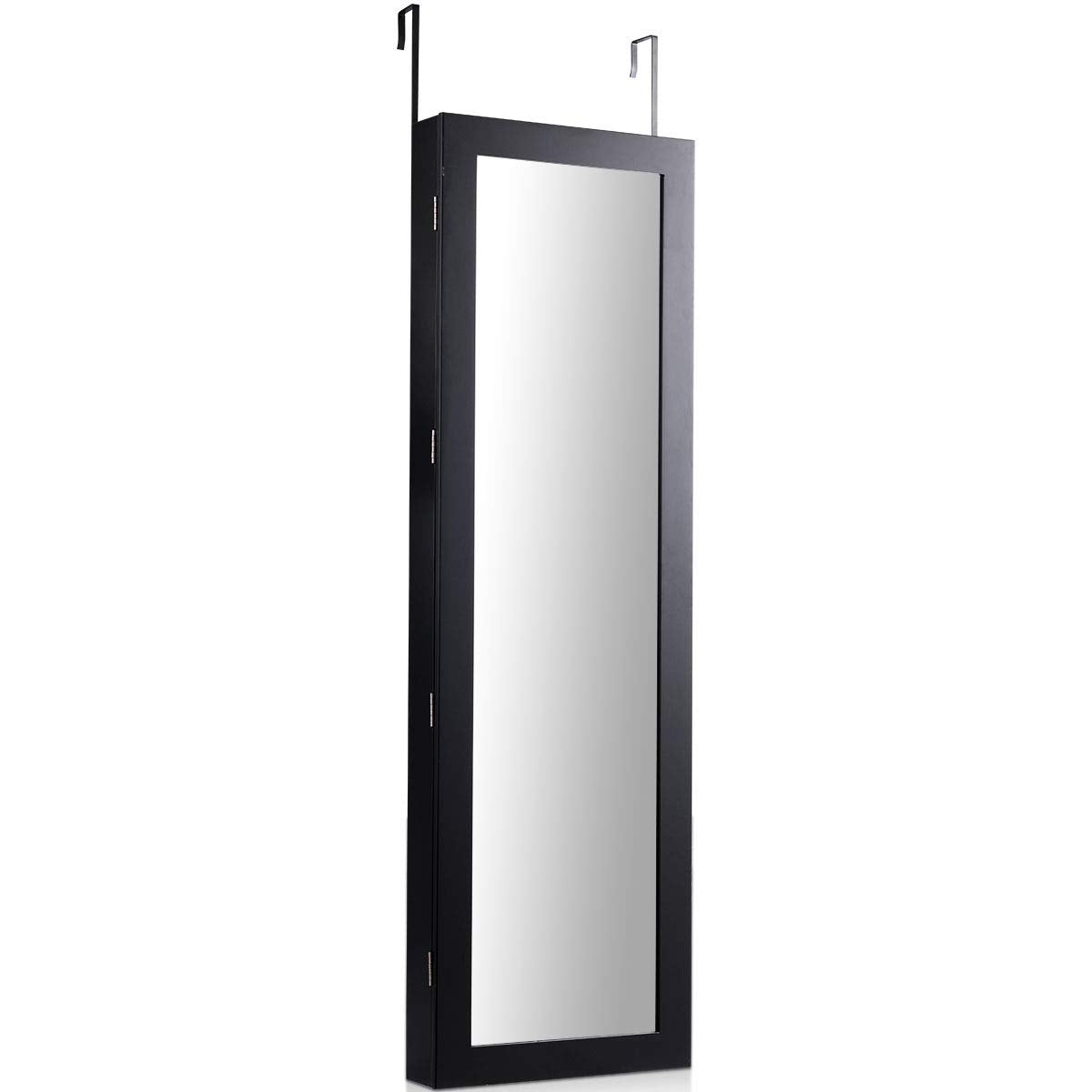 Lockable Wall Door Mounted Mirror Jewelry Cabinet w/LED Lights-Black