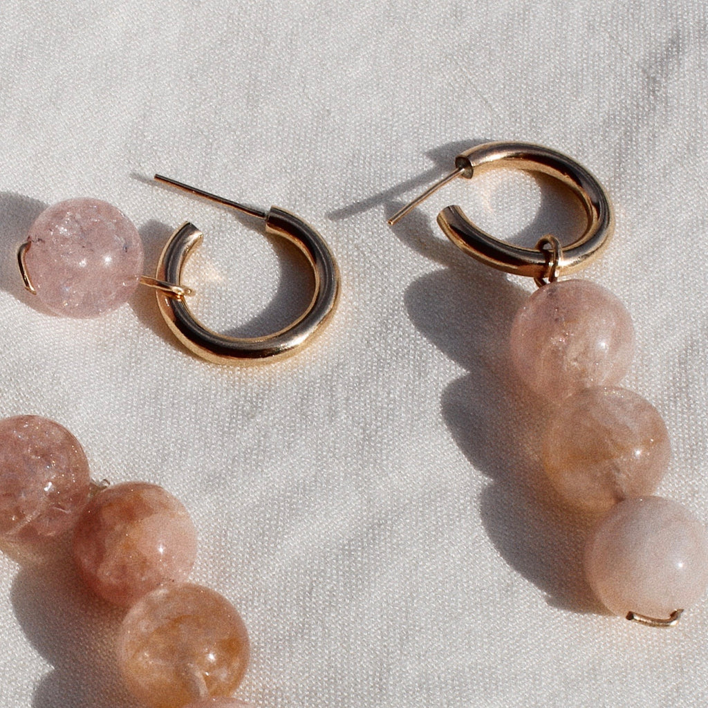 Morganite Charm Earrings