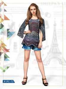 Multicolor Stripes Printed Muslin Top - Shopcept.com