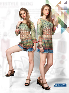 Green Ethnic Printed Cold-Shoulder Muslin Top - Shopcept.com