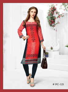 Red Geometric Printed Linen Kurti - Shopcept.com