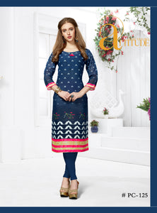 Blue Digital Printed Linen Kurti - Shopcept.com