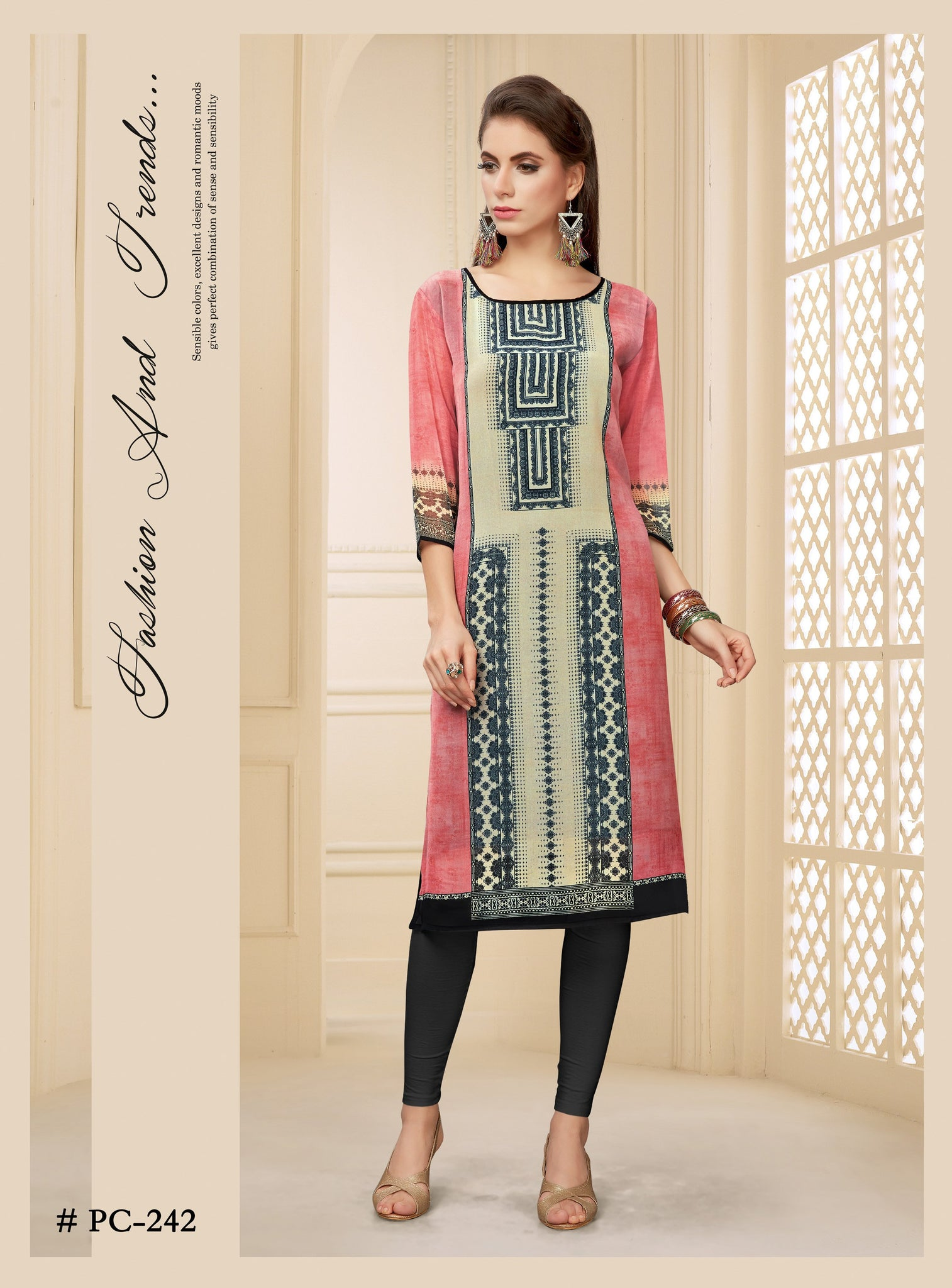 Multicolor Geometrical Printed Georgette Kurti - Shopcept.com