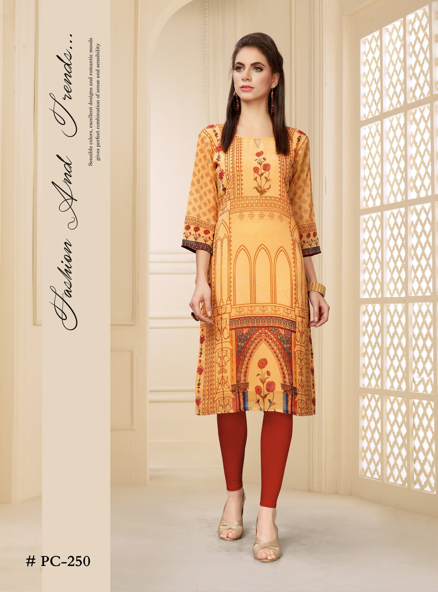 Orange Ethnic Printed Georgette Kurti - Shopcept.com