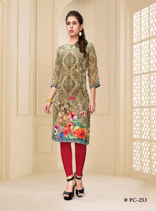 Light Olive Green Floral Printed Georgette Kurti - Shopcept.com