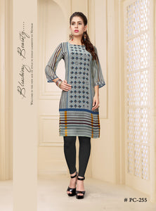 Grey Digital Printed Georgette Kurti - Shopcept.com