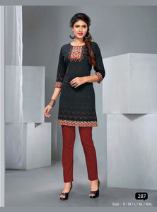 Black Ethnic Printed Short Kurti - Shopcept.com