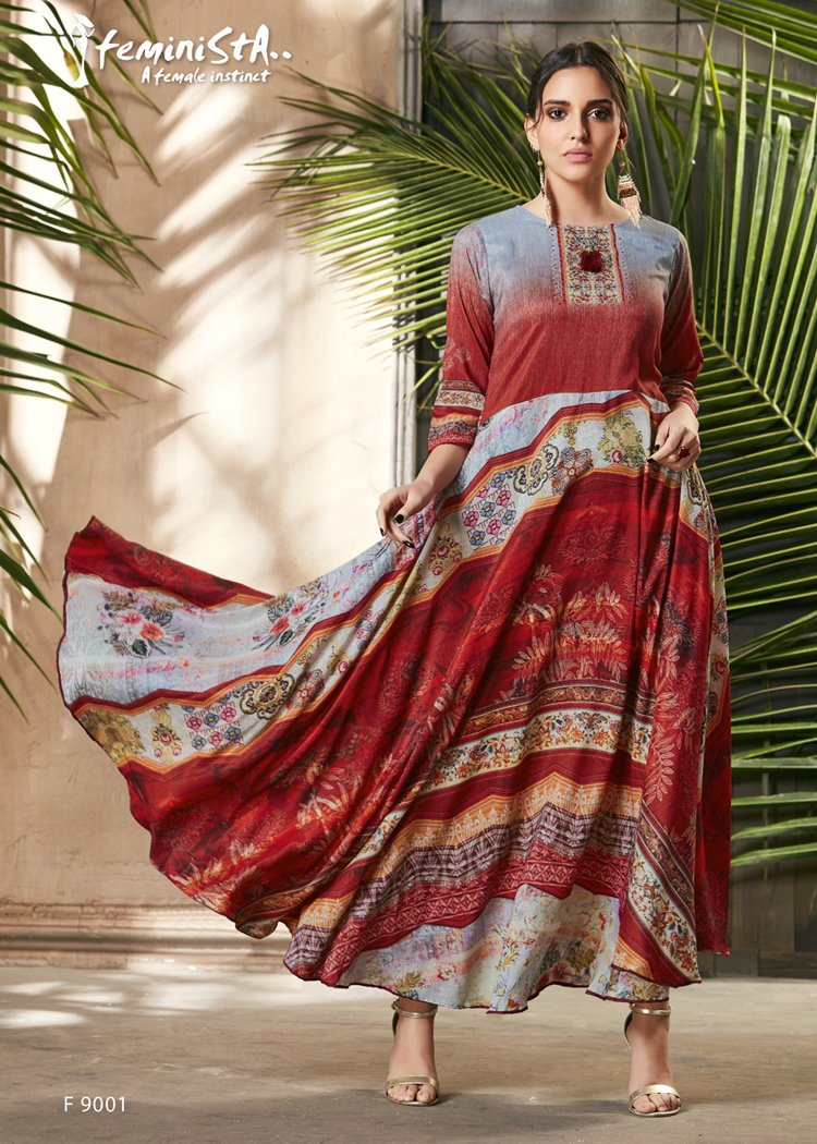 Blue & Red Ethnic Printed & Embellished Soft Silk Flared Gown - Shopcept.com