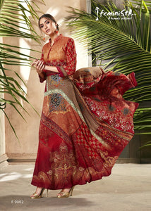 Red And Orange Ethnic Printed & Embellished Soft Silk Flared Gown - Shopcept.com