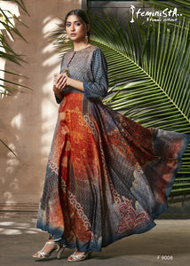Blue & Orange Ethnic Printed & Embellished Soft Silk Flared Gown - Shopcept.com