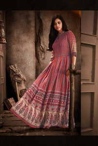 Multicolor Ethnic Printed Rayon Anarkali Kurti - Shopcept.com