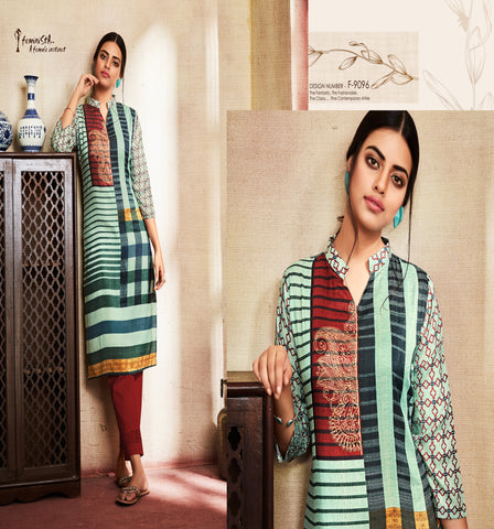 Breezy Blue Geometrical Printed Silk Kurti - Shopcept.com