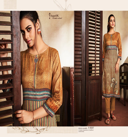 Brown Stripes Printed Silk Kurti - Shopcept.com