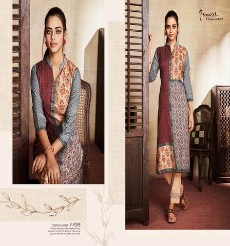 Multicolor Ethnic Motif Printed Silk Kurti - Shopcept.com
