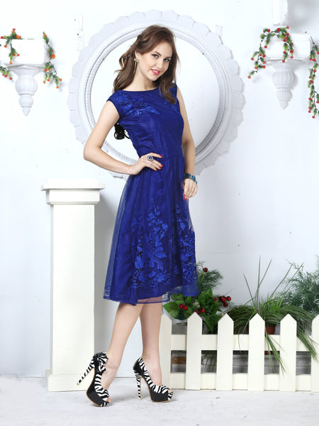 Navy Blue Floral Embroidered Fit & Flare Net Women's Dress - Shopcept.com