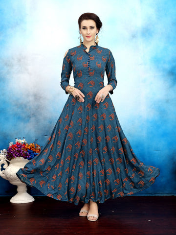 Blue Block Printed Anarkali Cold-Shoulder Rayon Floor Length Women's Kurti - Shopcept.com