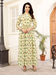 Beige Color Animal Print Anarkali Polycotton Party & Festive Wear Floor Length Women's Kurti - Shopcept.com