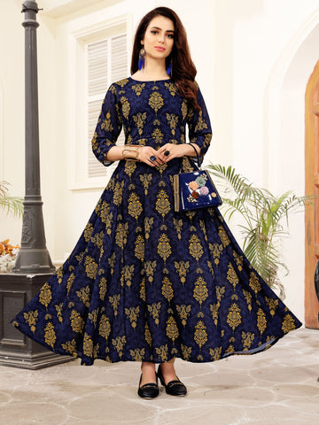 Navy Blue Floral Printed Anarkali Crepe Floor Length Party & Festive Wear Women's Kurti - Shopcept.com