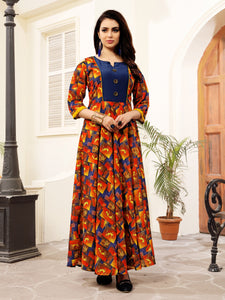 Multicolor Kalamkari Printed Anarkali Polycotton Floor Length Party & Festive Wear Women's Kurti - Shopcept.com