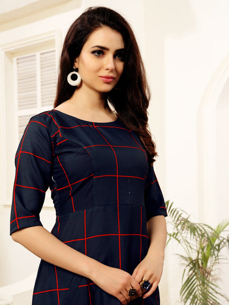 Navy Blue Checks Print Party & Festive Wear Polycotton Fit & Flare Women's Dress With Pockets - Shopcept.com