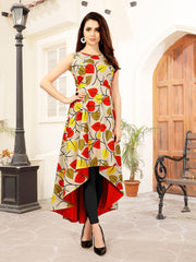 Reversible Multicolor Floral Printed Polyrayon & Silky Satin High-Low Women's Kurti