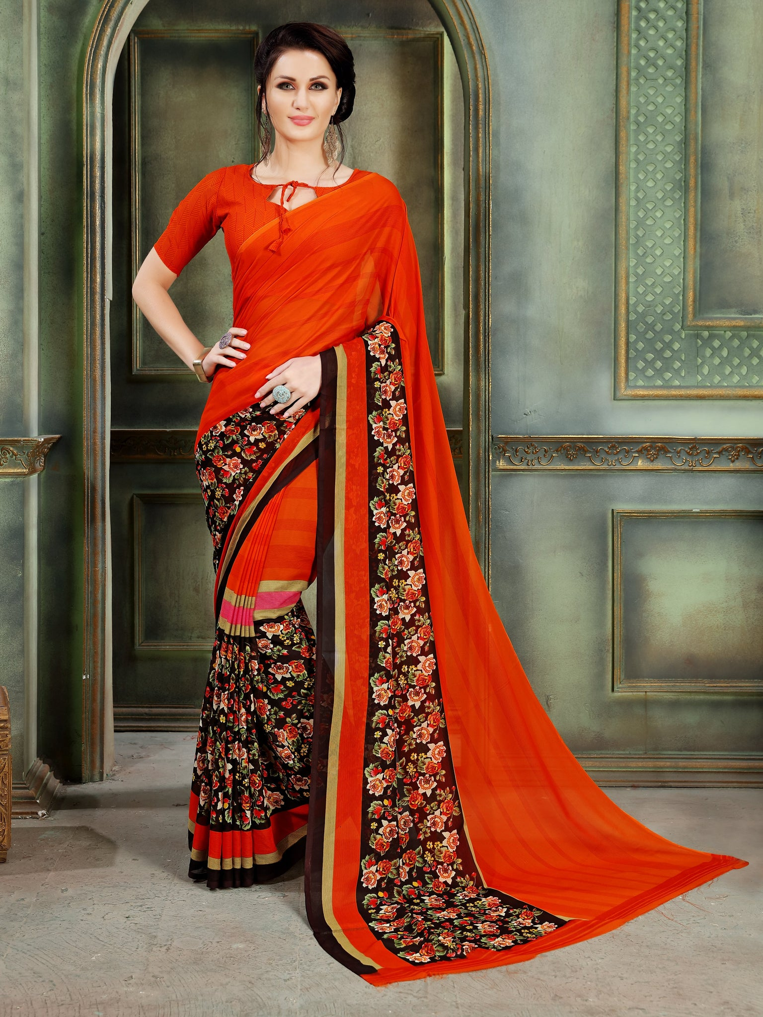 Orange Floral Printed Party & Festive Wear Georgette Saree - Shopcept.com