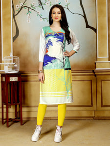 Multicolor Digital Printed Straight Fit Crepe Party & Festive Wear Knee Length Women's Kurti - Shopcept.com