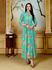 Turquoise Color Floral Printed Anarkali Crepe Party & Festive Floor Length Women's Kurti - Shopcept.com