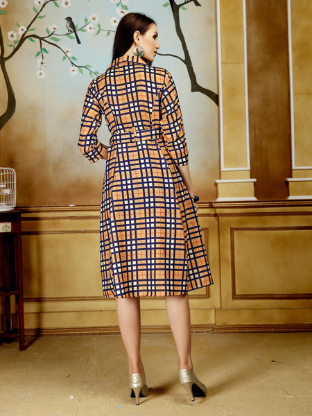Multicolor Checks Printed Front Tie-Up Party & Festive Wear Polycotton Women's Dress - Shopcept.com