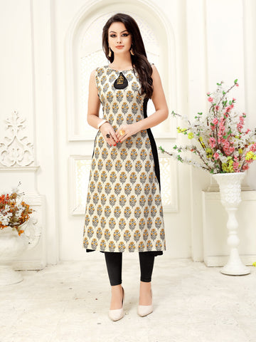 Multicolor Floral Printed A-Line Crepe Party & Festive Wear Knee Length Women's Kurti - Shopcept.com