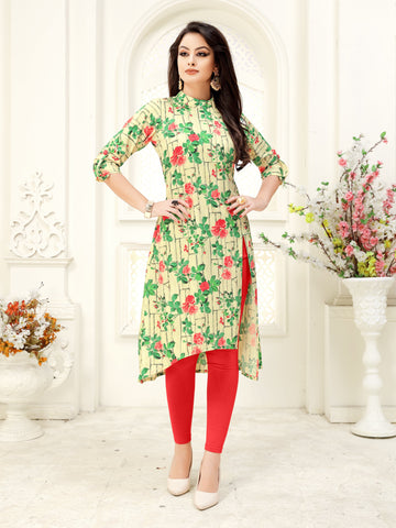 Green Color Floral Printed A-Line Crepe Party & Festive Wear Knee Length Women's Kurti - Shopcept.com