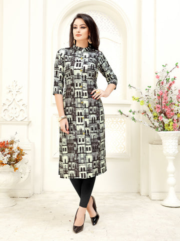 Black Color Geometric Printed A-Line Crepe Party & Festive Wear Knee Length Women's Kurti - Shopcept.com