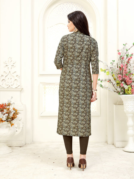 Multicolor Floral Printed Straight Crepe Party & Festive Wear Knee Length Women's Kurti - Shopcept.com