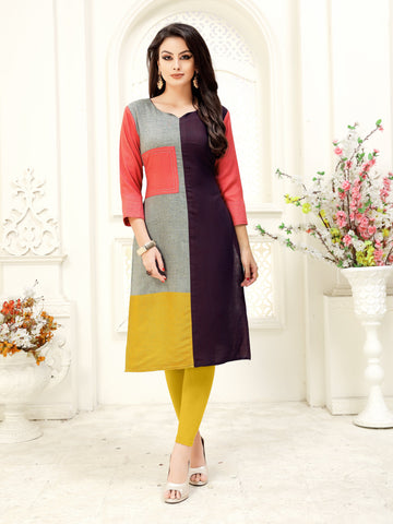 Multicolor Solid Patch Work Straight Rayon Party & Festive Wear Knee Length Women's Kurti - Shopcept.com
