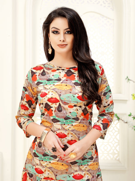 Multicolor Geometric Printed High-Low Crepe Party & Festive Knee Length Women's Kurti - Shopcept.com