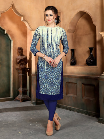 Multicolor Geometric Printed Straight Rayon Party & Festive Wear Knee Length Women's Kurti - Shopcept.com