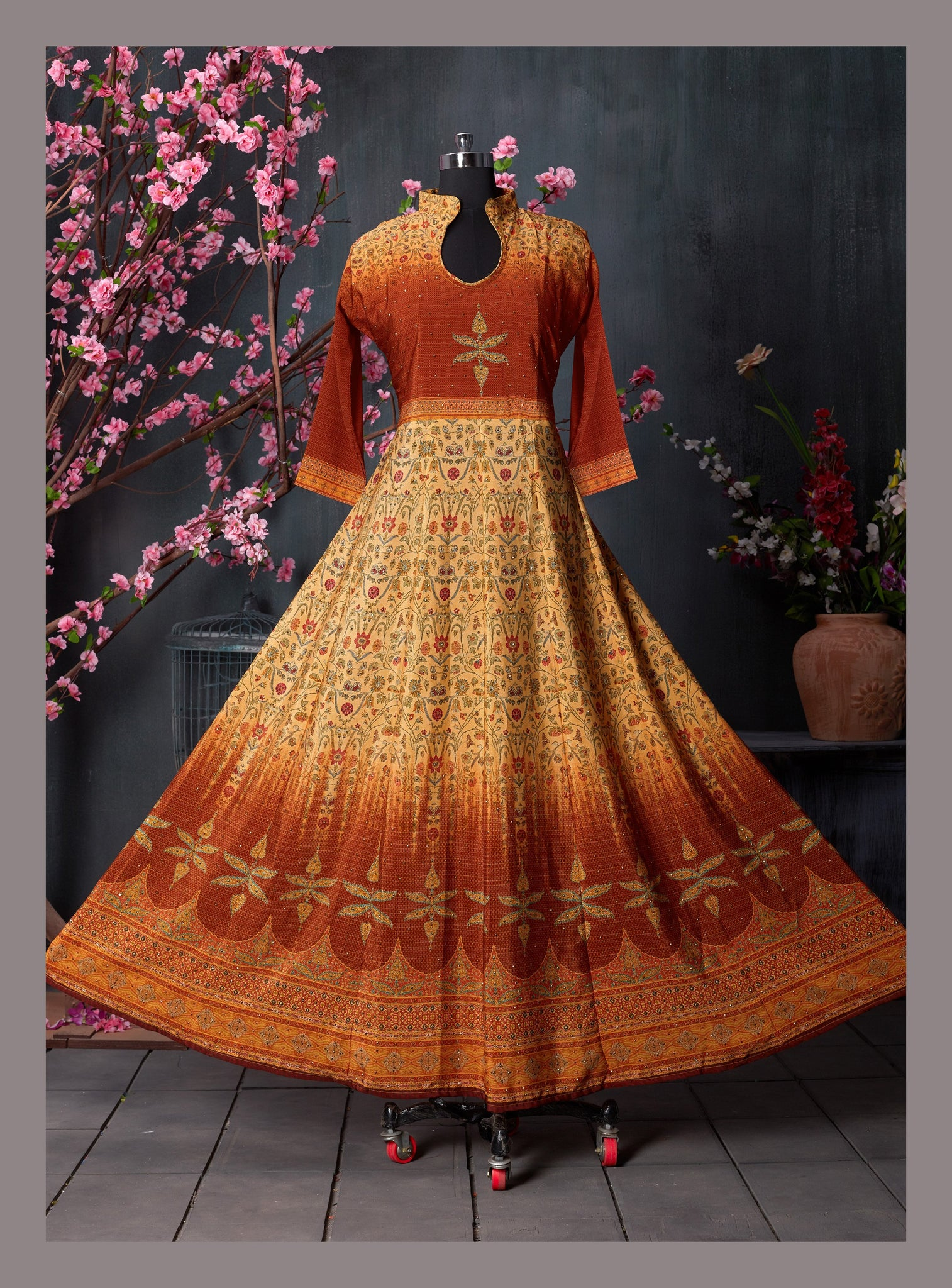 Copper Brown Ethnic Printed & Embellished Anarkali Kurti - Shopcept.com
