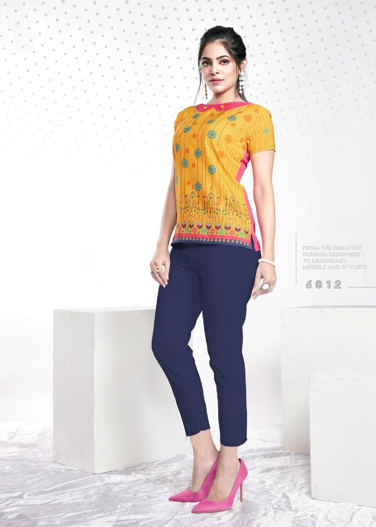 Mustard Floral Printed Crepe Top - Shopcept.com