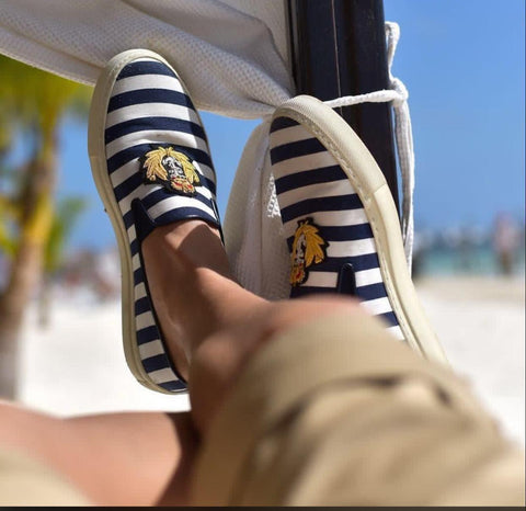 Lion Canvas Stripped Shoes - Shopcept.com