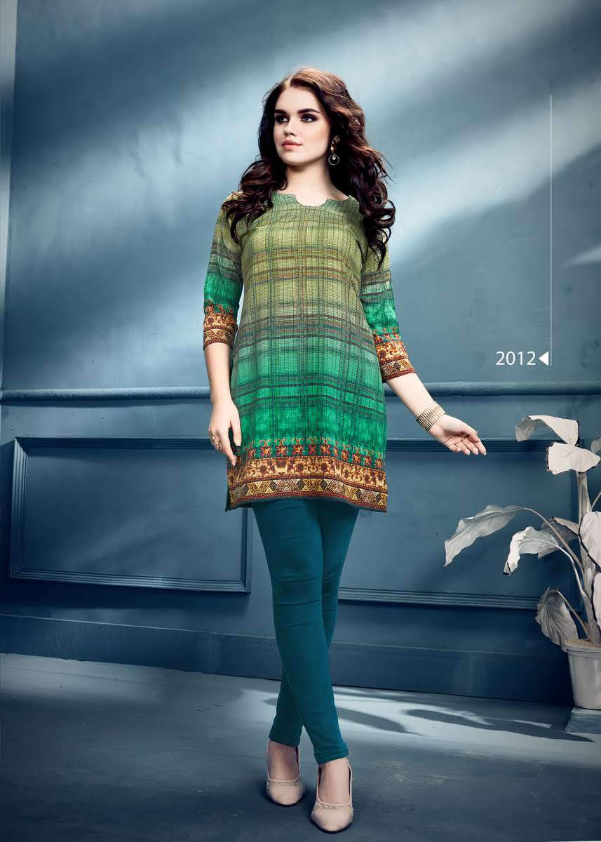 Green Ethnic Printed Short Crepe Kurti - Shopcept.com