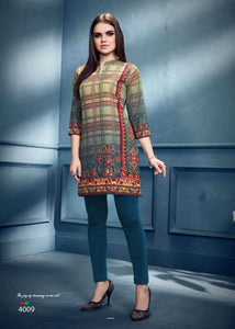 Green Stripes Printed Short Crepe Kurti - Shopcept.com