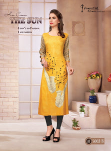 Mustard Yellow Digital Printed Rayon Kurti - Shopcept.com