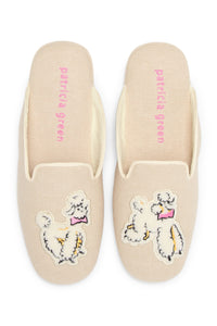 Patricia Green Linen Poodle Slippers - CdFAurora