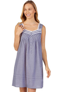 Eileen West Slate Chambray Swiss Dot Babydoll