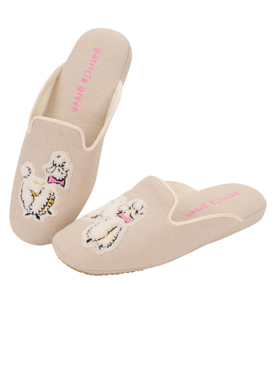 Patricia Green Linen Poodle Slippers