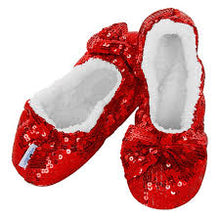 Load image into Gallery viewer, Snoozie's Ruby Sequin Ballerina Slippers - CdFAurora