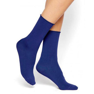 Bleuforêt Women's Admiral Blue Roll Top Cotton Socks - CdFAurora