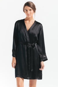 NKiMode Morgan Short Silk Robe - CdFAurora